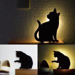 かわいいにゃん☆ キュートな黒猫モチーフの壁掛けセンサーライト「キャットウォールライト」