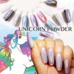 簡単手軽に虹色のユニコーン☆ オーロラ粒子がオシャレに輝く「ユニコーンネイルパウダー」