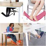 デスクワーク中でも足をリラックス☆ 机に取り付けて使う「ハンモック式フットレスト」